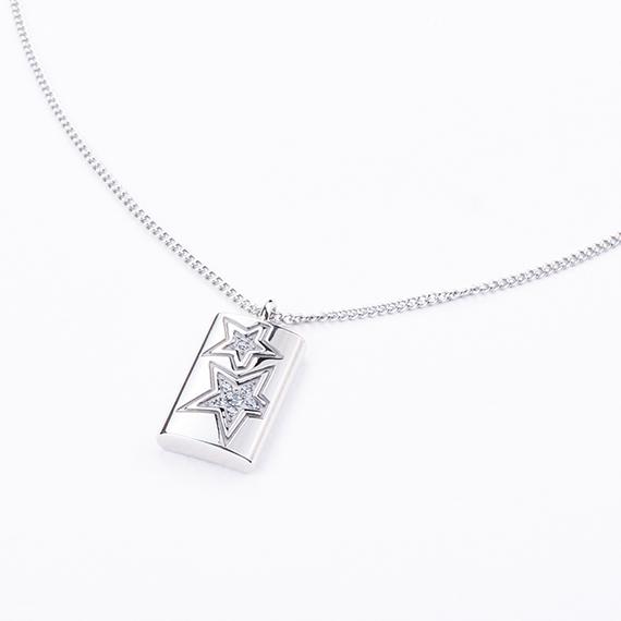 抗過敏項鍊| 雙星璀璨鑲鑽項鍊