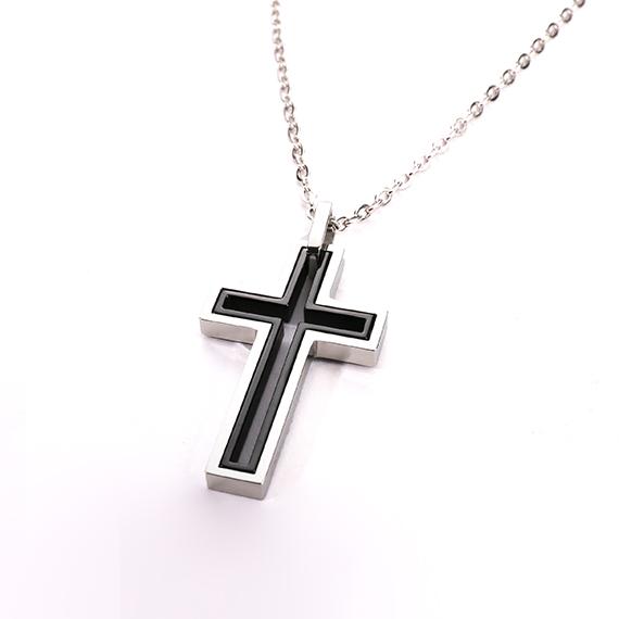 抗過敏項鍊|雙層黑鋼十字架