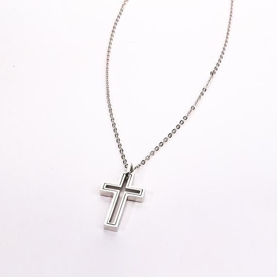 抗過敏項鍊|雙層鋼色十字架
