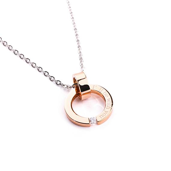 抗過敏項鍊|鏤空鑲鑽情侶款 玫瑰金項鍊
