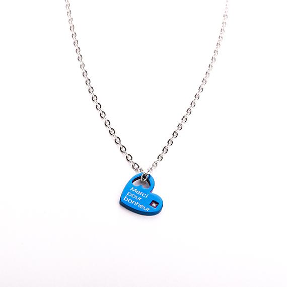 抗過敏項鍊|法國浪漫 湛藍愛心項鍊