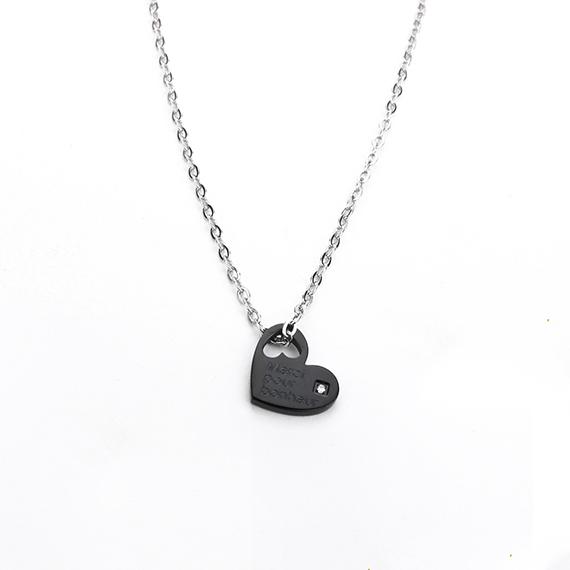 抗過敏項鍊|法國浪漫 深邃黑愛心項鍊