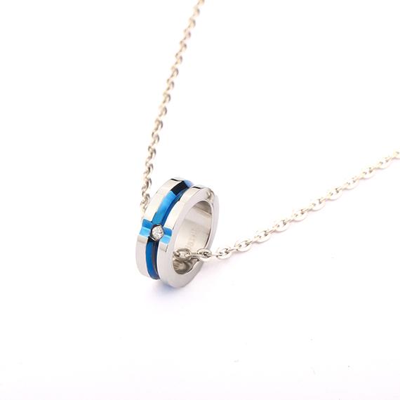 抗過敏項鍊|十字鑲鑽 藍鋼項鍊