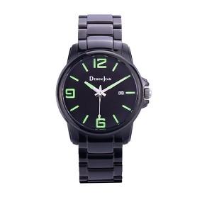 男錶 個性黑風格 螢光綠大字  深邃黑鋼帶