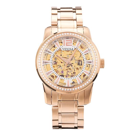 母親節禮物|機械錶 璀璨雅致 玫瑰金鋼帶