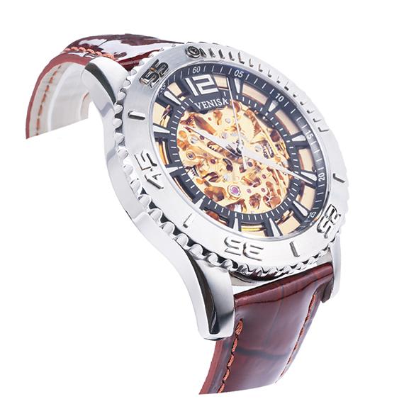 機械錶|鋼色  紅棕鱷魚皮帶 深邃黑秒數圈