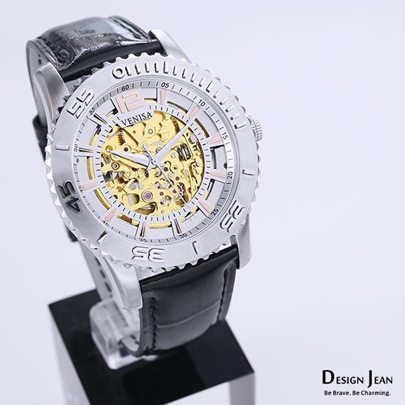 機械錶|鋼色 黑色鱷魚皮帶 淡金色秒數圈