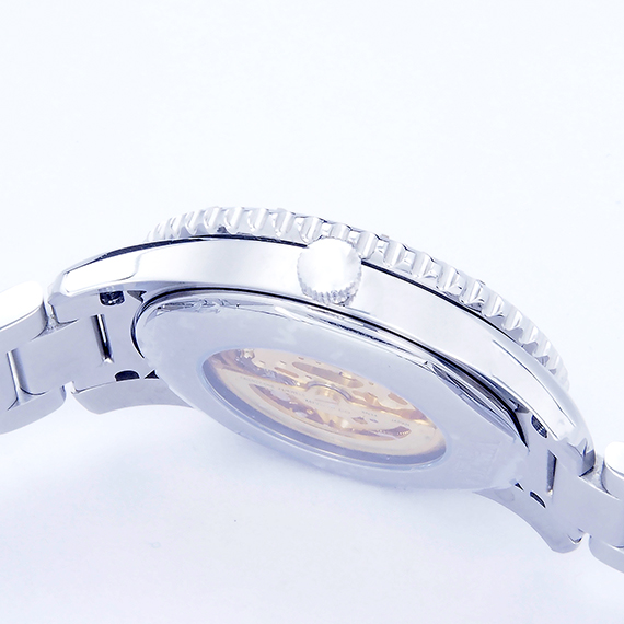 機械錶|鋼色 五段拼接鋼帶 深邃黑秒數圈