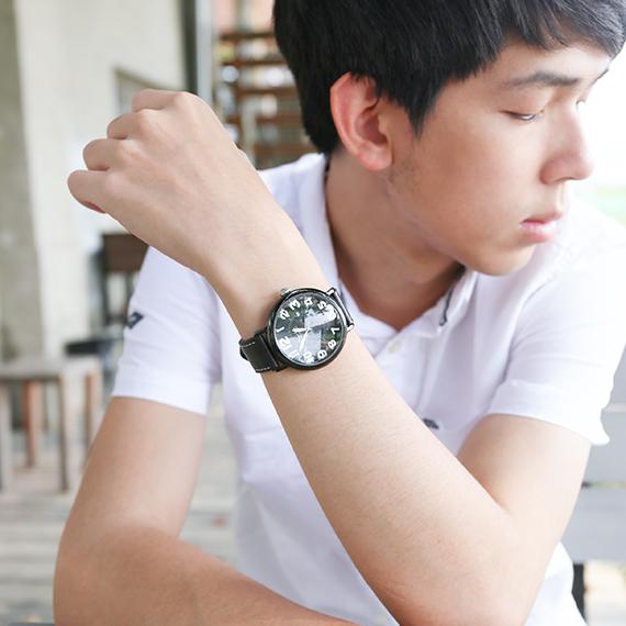 男錶|活潑泡泡大圓 黑色皮帶