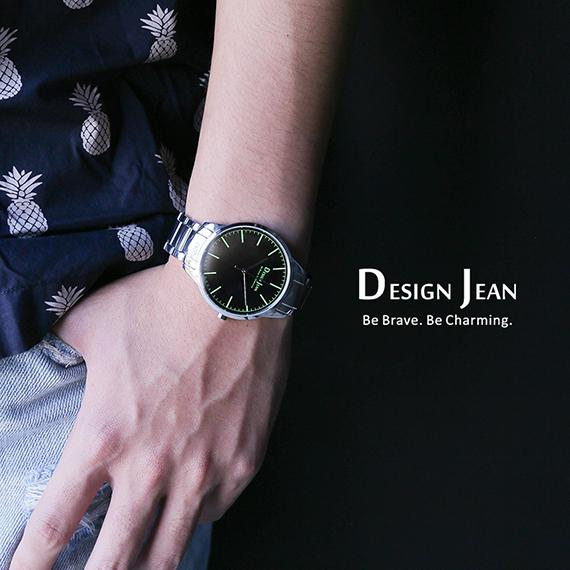 男錶|極致簡約風格 螢光字釘 鋼帶