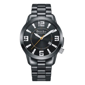 男錶 黑亮霸氣商務錶  深邃黑鋼帶