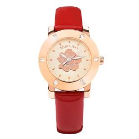 女錶 玫瑰金 夏日玫瑰 亮紅漆皮