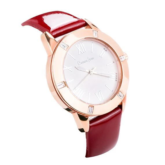 女錶|玫瑰金 小資女簡約時尚 酒紅漆皮
