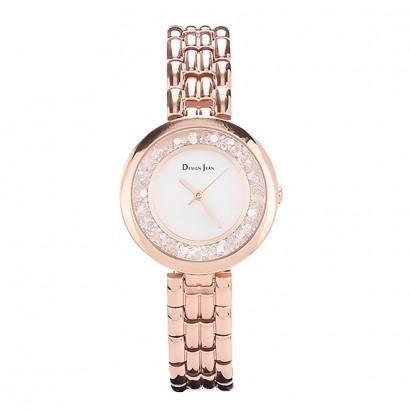 女錶|華麗晶石錶圈 玫瑰金經典鋼帶