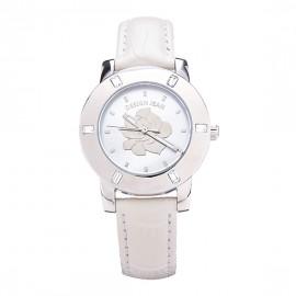 女錶|鋼色 夏日玫瑰 白色鱷魚皮