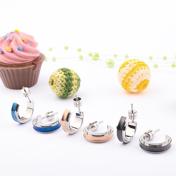 抗過敏耳環|高質感雙色耳環 四分之三圓耳環