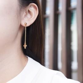 抗過敏長耳環|簡約小十字
