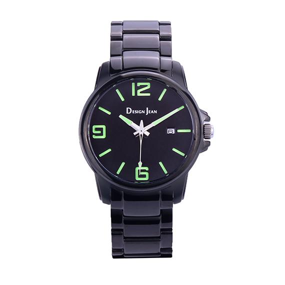 男錶|個性黑風格 螢光綠大字  深邃黑鋼帶